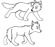 wolf pup lineart by The1andonlyRaven