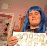 Me in my hinata cosplay with my naruhina drawing by Fran48