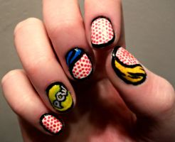 Comic Themed Nails by kaylamckay
