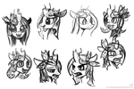Young Chrysalis Portrait Sketches by KP-ShadowSquirrel