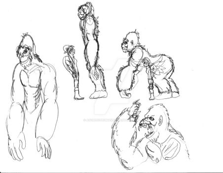 Original Sketch Kong ape kaiju form size by An1m3T0TH3MAX