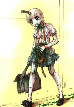 Zombie School Girl by sachsen