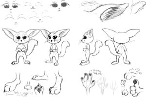 Fennec Fox Concept Sketch #2 (Full) by OnlyOneFoxy