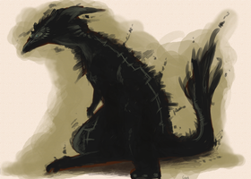 Shadow dragon concept by InkpotBot