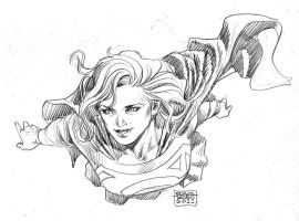 Supergirl Fly Sketch by edtadeo