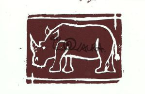 Rhino Lino Print 2 by lonesomeaesthetic