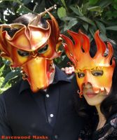 Red Dragon and Fire leather masks by Alyssa-Ravenwood