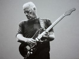 David Gilmour with his Black Strat by PassionDraw