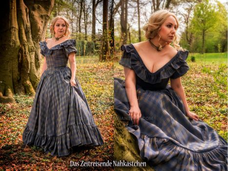 Blue and Gold Crinoline Gown - #2 by Stahlrose