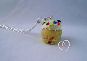Scented Funfetti cupcake necklace by ilikeshiniesfakery