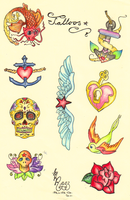 Various Tattoo Doodles. by thehatterschild