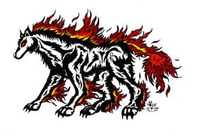 Tribal Fire Wolf Tattoo by Legendary-Airliners