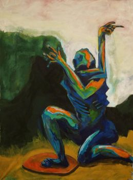 Untitled/blue man with two left hands by UlfStubbe