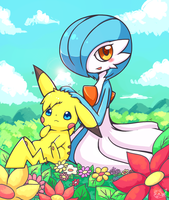 Pikazam and Gardevoir by huiro by ACH-theNUTS