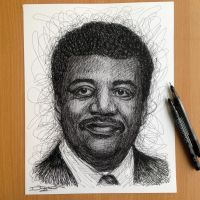 Neil Degrasse Tyson Pen Sketch by AtomiccircuS