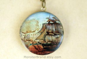 Vintage Nautical Pirate Ship Locket Necklace by MonsterBrandCrafts