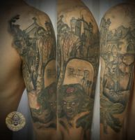 Zombie cemetary bloody fin by 2Face-Tattoo