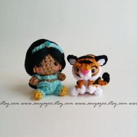 Jasmine and Rajah Amigurumi by AnyaZoe