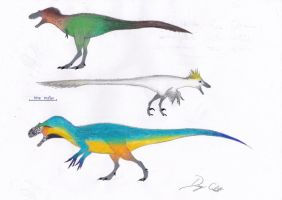Theropods in parrot colors by Dennonyx