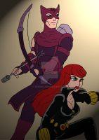 Avengers EMH: Hawkeye and Black Widow by xero87