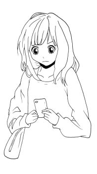 Confused girl holding a cell phone by Dezeya