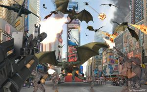 Army Vs. Dragons at NYC Time Square by SilentMobster42
