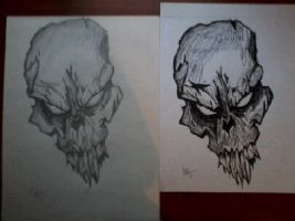 skull in pencil and ink by darkartfromthehart
