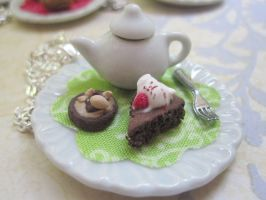 Chocolate cake and teapot by CandyChick