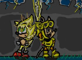 super sonic and gold sparkster by cobra10