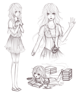 [Commission] Remaining Sketches of Katarina by Akeita