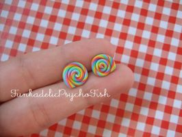 Lollipop Earrings 1 - Rainbow by FunkadelicPsychoFish
