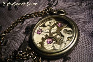 Music Pocket Watch Pendant by BitterSweet-Scion