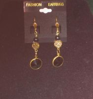 Black and gold earrings by BlackUnicornWood