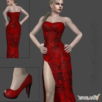 Jill-Red and Black Lace Dress by IamRinoaHeartilly