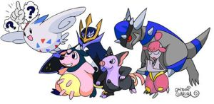My wife's Pokemon Platinum battle party. by HitoshiAriga