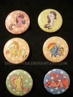 My Little Chibi's-Mane 6 Button Set by UsagiLovex