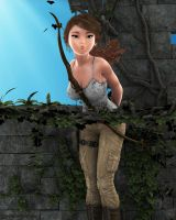 Lara Croft Toon in the Ruins by JpauCroft