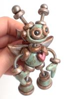 Rustic Cupid Robot Brooch by HerArtSheLoves