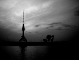 sunset in the port bw by CatCalledTinelly