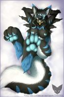 Snowy paw tease by kira-the-wolfy