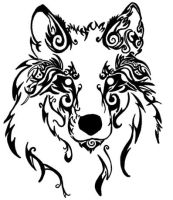 tribal wolf head by silent-howl