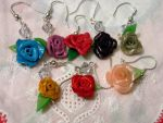 Earrings with various roses by CreamberryAccesory