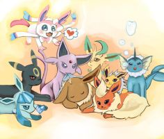 Eevee and her/his fans by Pistachii