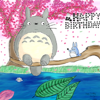 Totoro Cherry Blossom, Birthday Present by Greenphysics