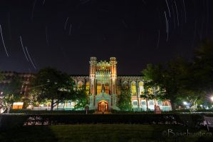 Bizzell Library Star Trail by Bvilleweatherman