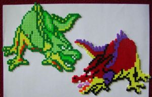 HAMA beads DQ dragons by HareTrinity