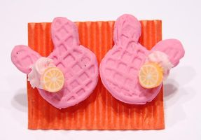 Pink rabbit waffle earings by knil-maloon