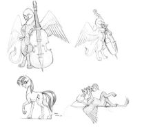 Griffin and pony sketches by Baron-Engel