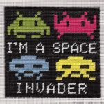 Space Invader half-stitch tapestry by ggeudraco