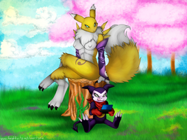 Renamon and Impmon chillaxin' by DeviantImpmon